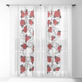 Rock of Red Roses Sheer Curtain