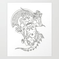 devil Art Prints featuring Devil by MissingPieceTattoo