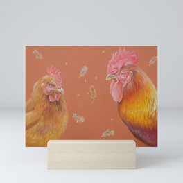 ROOSTER and HEN Farm animals Domestic birds illustration Mini Art Print