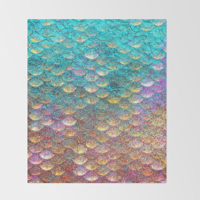 Aqua and Gold Mermaid Scales Throw Blanket