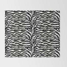 Wild Animal Print, Zebra in Black and White Throw Blanket