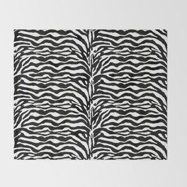 Wild Animal Print, Zebra in Black and White Throw Blanket