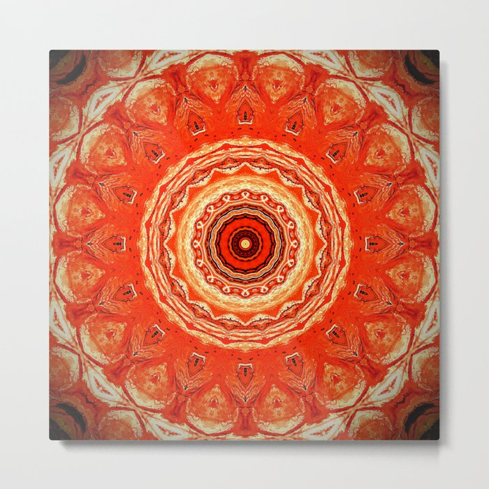 Vintage Orange Mandala Design Metal Print