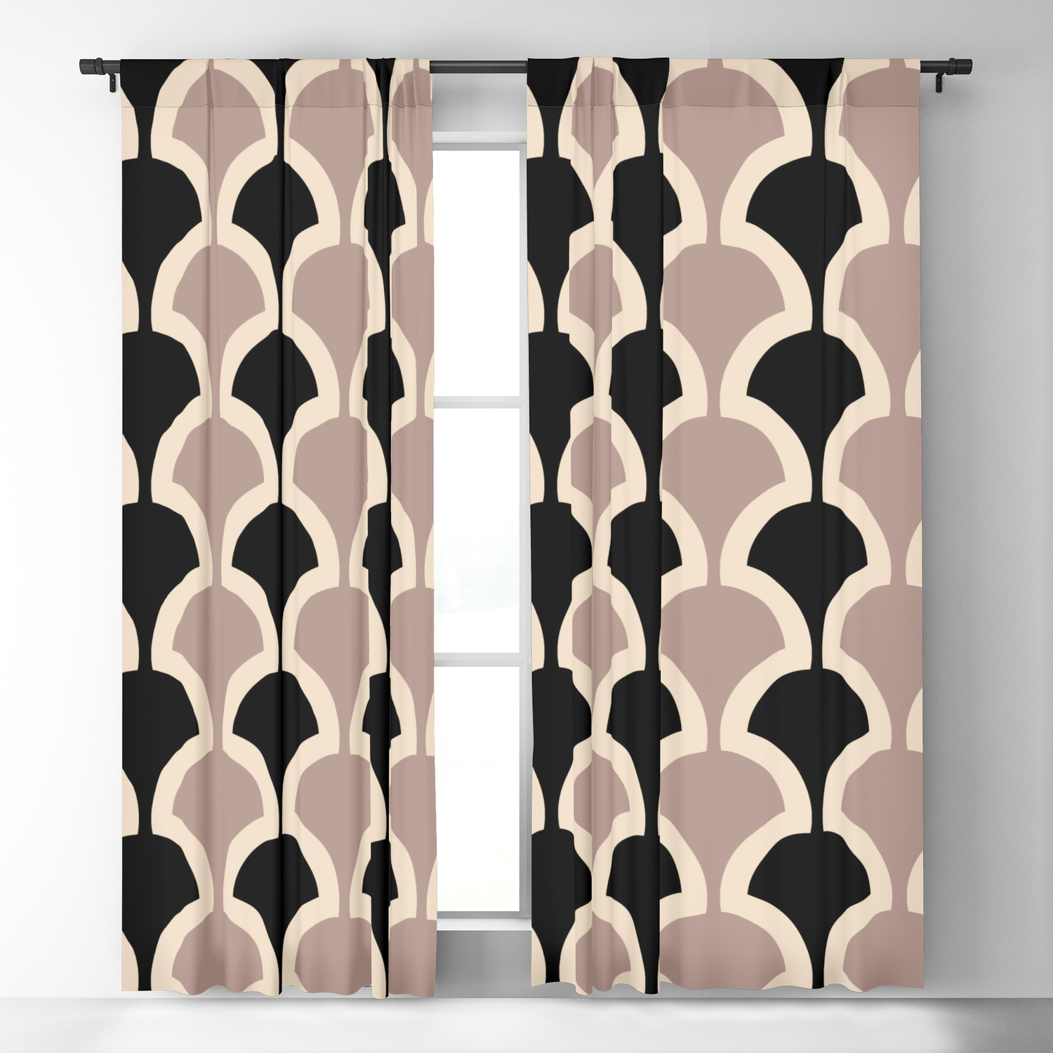 445 Black And Beige Blackout Curtain