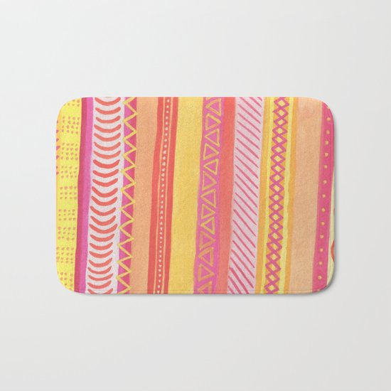 Tribal#1 (Orange/Pink/Yellow) Bath Mat