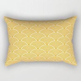 Japanese Waves (White & Orange Pattern) Rectangular Pillow