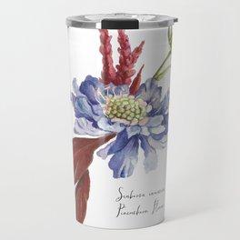 Blue Scabiosa Flower Travel Mug