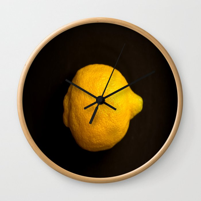 Yellow Lemon On A Black Background #decor #society6 Wall Clock