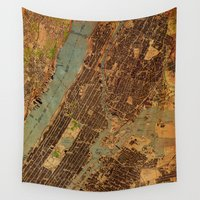 central park Wall Tapestries featuring Central Park map by Larsson Stevensem