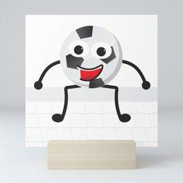 Cute Smiling Soccer ball Mini Art Print