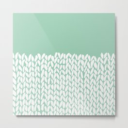 Half Knit Mint Metal Print