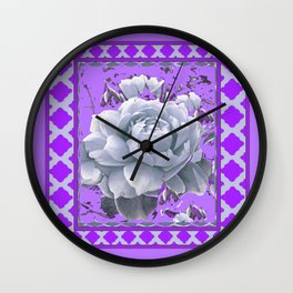 WHITE GARDEN  ROSE FLOWERS PANTENE PURPLE DECORATIVE ART Wall Clock