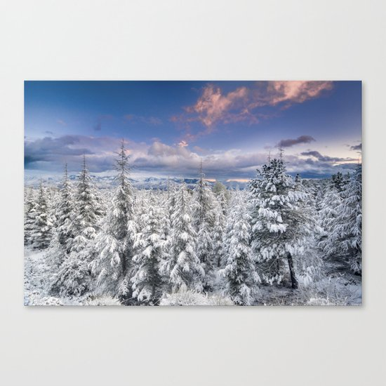 """""""Mountain light"""". Snowy forest at sunset Canvas Print"""