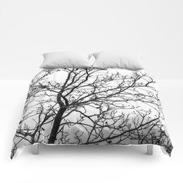 Black and white branches on a foggy morning Comforters