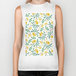 Hand painted yellow green watercolor berries floral pattern Biker Tank