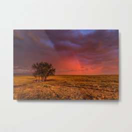 Fire Within - Red Sky and Rainbow Over Lone Tree on Great Plains Metal Print