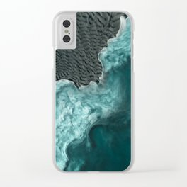 """Sea foam dancing on the blue ocean and gray sand"" Clear iPhone Case"