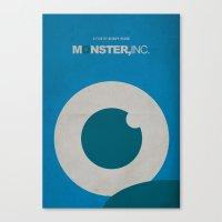 monster inc Canvas Prints featuring Monster, Inc. - Blue (Vintage) by Lemontrend Studio