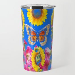 ASSORTED FLOWERS MODERN BLUE ART Travel Mug