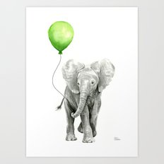 Baby Elephant Watercolor Green Balloon Neutral Color Nursery Decor Art Print