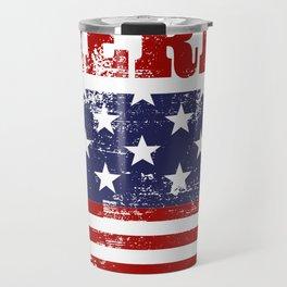 America Grunge Rubber Stamp Design Travel Mug