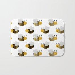 Bee pattern print white honey bees nature inspired cute nursery kids gender neutral pattern Bath Mat