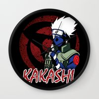 kakashi Wall Clocks featuring KAKASHI by BradixArt