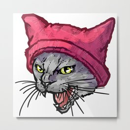 The Cat in the Hat (Russian Blue) Metal Print