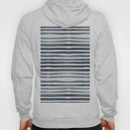 Simply Shibori Stripes Indigo Blue on Lunar Gray Hoody