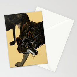 Black wolf totem Stationery Cards