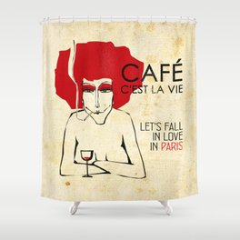 Café c'est la vie - Paris Shower Curtain