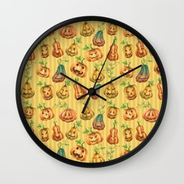 Cute Halloween Watercolor Jack-O-Lanterns | Pumpkins Pattern with Striped Background Wall Clock