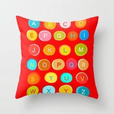 Red Alphabet Throw Pillow