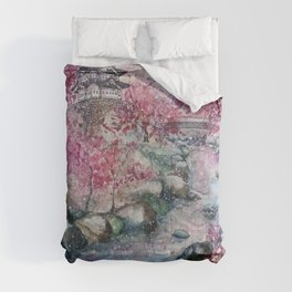 Cherry blossom (Watercolor painting) Comforters