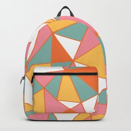 Merry and Bright, Colorful, Christmas, Retro, Geometric Art Backpack