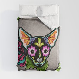 Chihuahua in Black - Day of the Dead Sugar Skull Dog Comforters