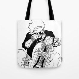 Biker on The Road Tote Bag