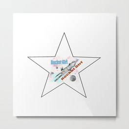 Rocket Girl with Star Metal Print