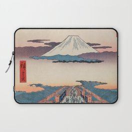 Mount Fuji above Ancient Street Ukiyo-e Japanese Art Laptop Sleeve