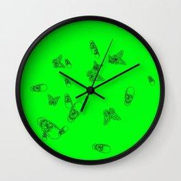 Green Skulls Wall Clock