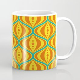 Retro Psychedelic Saucer Pattern in Orange, Yellow, Turquoise Coffee Mug