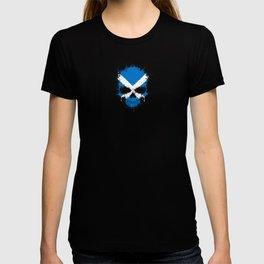 Flag of Scotland on a Chaotic Splatter Skull T-shirt