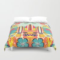 tiki Duvet Covers featuring Tiki by Claire Lordon