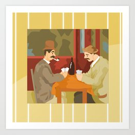 Card players by Cezanne Art Print