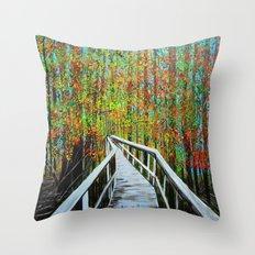 Walkway  in the woods  Throw Pillow