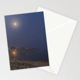 Moon cutting though the fog at Pavilion Beach in Gloucester Stationery Cards