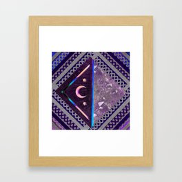 Purple Lace Moon Collage Framed Art Print