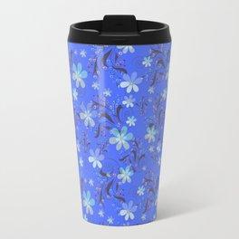 Blue retro flower Travel Mug