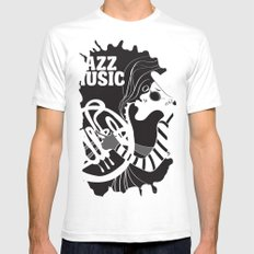 B&W Jazz Music Festival SMALL White Mens Fitted Tee