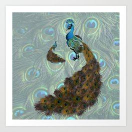 Peacock Feather Lovers Art Print